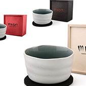 Matchaschale weiß, 400ml mit Filzuntersetzer in Holzbox, schwarz, rot, natur