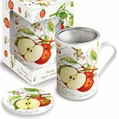 Porzellan Fine Bone China Deckelbecher 'Apfel'