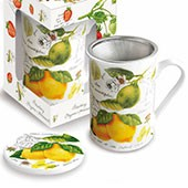 Porzellan Fine Bone China Teetasse mit Sieb 'Lemon & Lime'