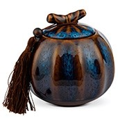 Porzellan Teedose blau-braun, 500ml