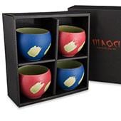 Prozellan Teacups / Teebecher Geschenkset (blau/rot)