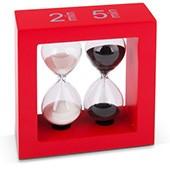Teatimer / Sanduhr, 2 Min. & 5 Min, roter Rahmen
