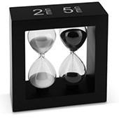 Teatimer / Sanduhr, 2 Min. & 5 Min, schwarzer Rahmen