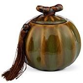 Teedose Porzellan grün-braun, 500ml