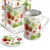 Porzellan Fine Bone China Teetasse mit Sieb 'Erdbeere' (300ml)